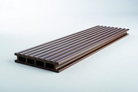 Terasový profil WPC Kovalex Standard oboustranně kartáčovaný MAT Hnědá mat 26 x 145 x 4000 mm