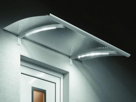 Vchodová stříška Guttavordach LED Technik bílá 150 x 90 mm bílá